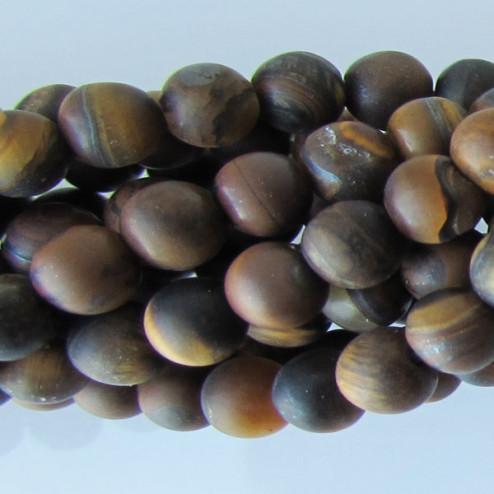 Tijgeroog, 4 mm, frosted, verpakt per streng