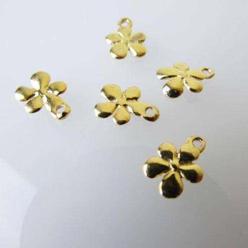 22 K Goud Vermeil bedeltje, bloem, 11 x 8 mm, per 5 stuks