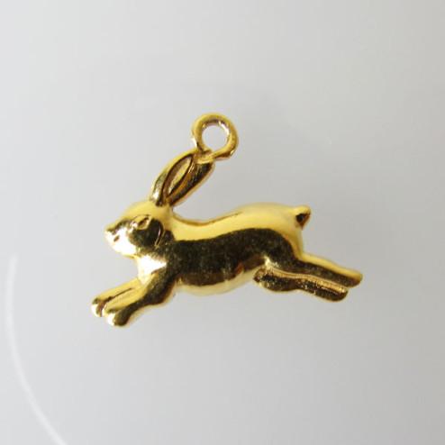 22 K Goud vermeil bedel, konijntje, 19.6 x 14 mm, 1 micron plated, per stuk