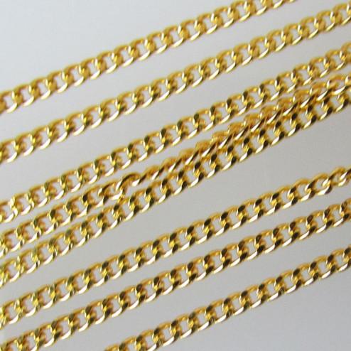 22 K Goud vermeil jasseron ( 1 micron plated), curb design, 1.2 mm, per meter