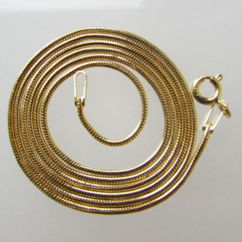 22 K Goud vermeil SNAKE ketting, slangen collier, afgewerkt, 50 cm x 1 mm, per stuk