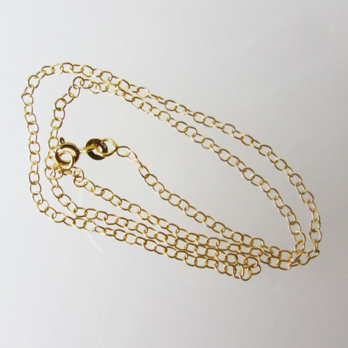 22 K Goud vermeil SCHAKEL ketting, afgewerkt, 50 cm , per stuk