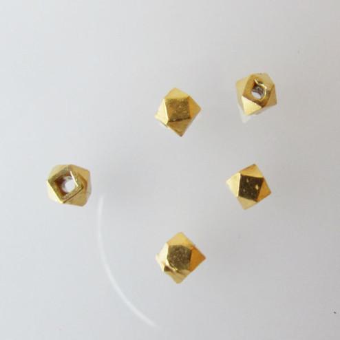 22 K Goud vermeil kraal, 4 mm, polygoon, 1 micron plated, verpakt per 10 stuks