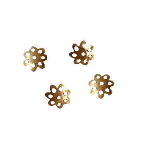 22 K Goud Vermeil kralenkapje, 6.5 mm, bloemetje, verpakt per 30 stuks