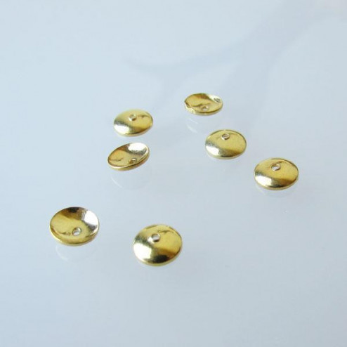 22 K Goud vermeil kralenkap, 6 mm, per 10 stuks