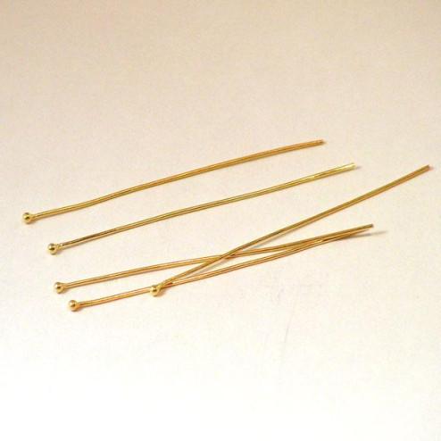 22 K Goud Vermeil nietstift met bolletje, 0.6 mm, 50 mm lang, verpakt per 20 stuks