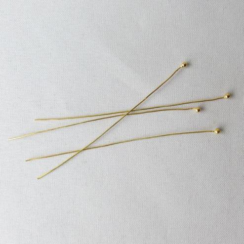 22 K Goud Vermeil nietstift met bolletje, 0.35 mm, 50 mm lang, verpakt per 20 stuks