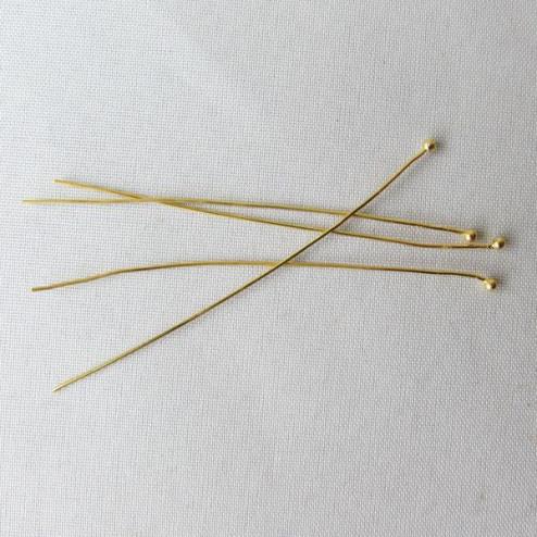 22 K Goud Vermeil nietstift met bolletje, 0.45 mm, 50 mm lang, verpakt per 20 stuks