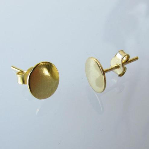 22 K Goud vermeil oorsteker met 8 mm plaatje, 1 micron plated, verpakt per 10  stuks