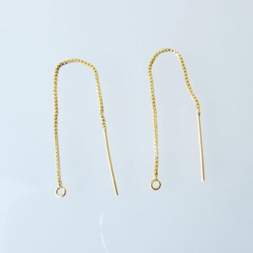 22 K Goud vermeil (1 micron plated!) oorhanger / threader, 80 mm, verpakt per 10 stuks