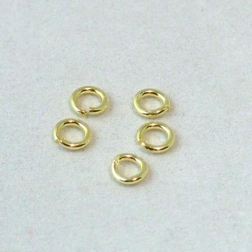 22 K Goud vermeil ring, 5 x 1 mm, open, 1 micron plated, verpakt per 30 stuks
