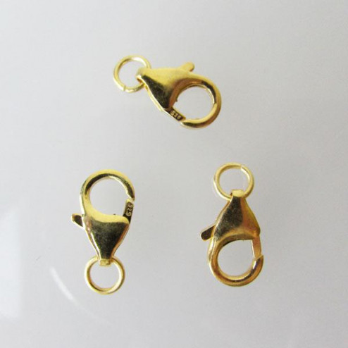 22 K Goud vermeil lobsterslot, 12 mm, 1 micron plated
