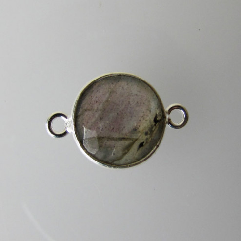 Sterling zilveren (925) tussenstuk, LABRADORIET, facet, 11 x 17 mm, per stuk
