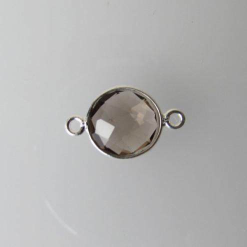 Sterling zilveren (925) tussenstuk, ROOKKWARTS, facet, 11 x 17 mm, per stuk