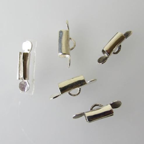 Sterling zilveren (925) eindstuk / sluiting voor een weefarmband,  verpakt per stuk