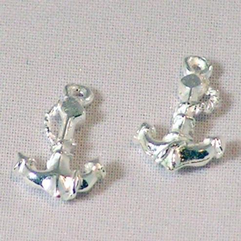 Sterling zilveren (925) bedel, anker, per 5 stuks