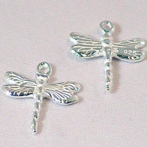 Sterling zilveren (925) bedel, libelle, per 5 stuks