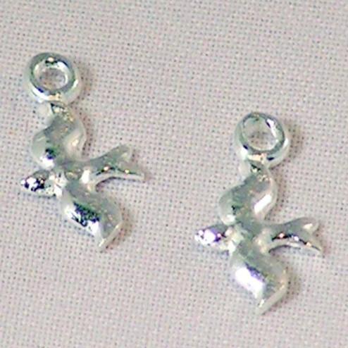 Sterling zilveren (925) bedel, zwaluw, per 5 stuks