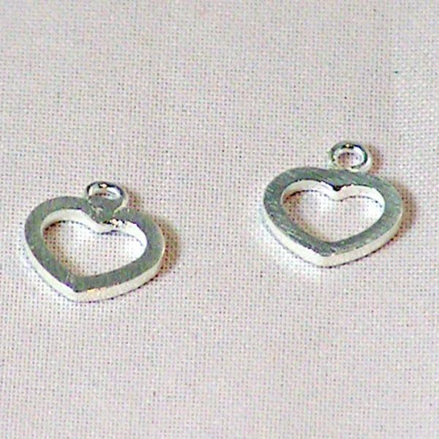 Sterling zilveren (925) bedel, hart, 10 x 8 mm, per 5 stuks