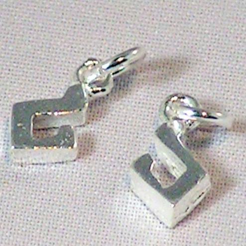 Sterling zilveren (925) bedel, muzieknoot, per 5 stuks