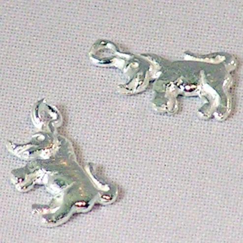 Sterling zilveren (925) bedel, neushoorn, per 5 stuks