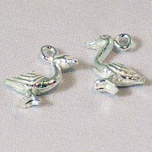 Sterling zilveren (925) bedel, pelikaan, per 5 stuks