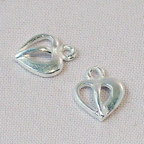 Sterling zilveren (925) bedel, hart,  licht gematteerd, per 5 stuks