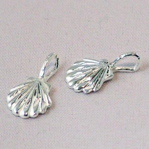 Sterling zilveren (925) bedel, schelp, per 5 stuks