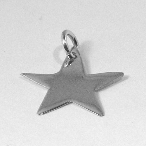 Sterling zilveren (925) bedel - tag - label, ster,  per stuk