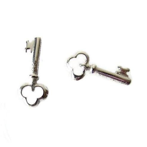 Sterling zilveren (925) bedel, sleutel zonder oogje, 19 x 8.6 mm,  per 5 stuk