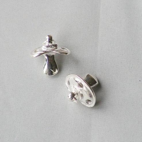 Sterling zilveren (925) bedel/hanger, speen, per stuk