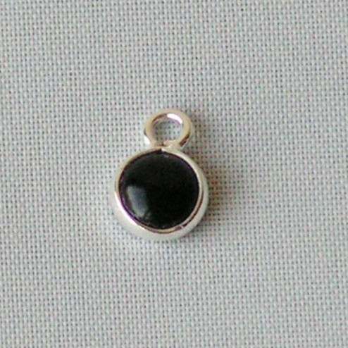 Sterling zilveren (925) bedeltje met ONYX steen, charm van onyx, 6 mm doorsnee, per stuk
