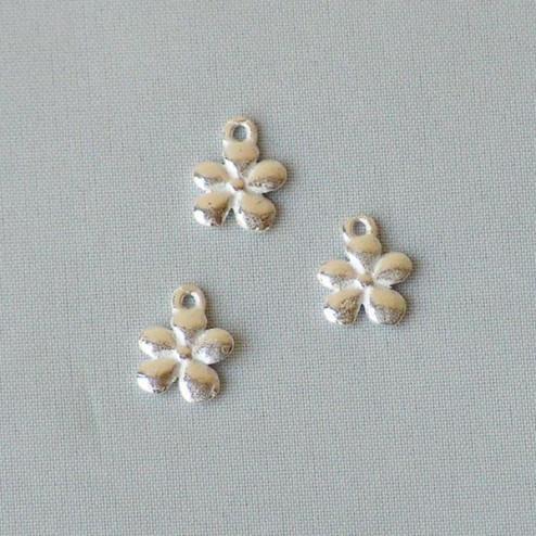 Sterling zilveren (925) bedel, bloem,  per 5 stuks