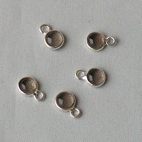 Sterling zilveren (925) bedeltje met ROOKKWARTS steen, charm van rookkwarts, 6 mm doorsnee, per stuk