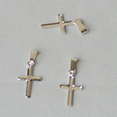 Sterling zilveren (925) bedel, kruisje, 16 x 9 mm, verpakt per 5 stuks