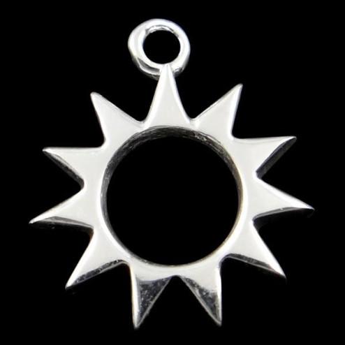 Sterling zilveren (925) bedel, bloem, 12.5 mm, per stuk