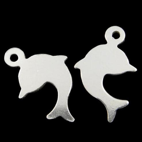 Sterling zilveren (925) bedel - tag- label, dolfijn, 10 x 8 x 0.5 mm, per 5 stuks