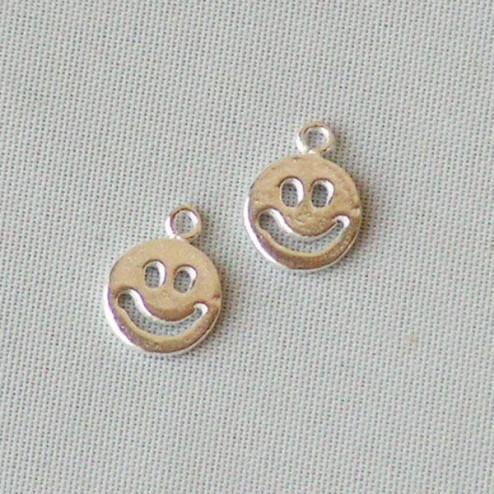 Sterling zilveren (925) bedeltje, smiley, 7 mm, per 5 stuks