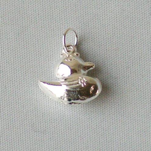 Zilveren bedel, eendje, per stuk