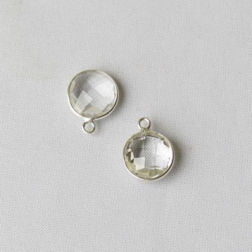 Sterling zilveren (925)  ronde bedel, KRISTAL, gefacetteerd, 10 mm, per stuk