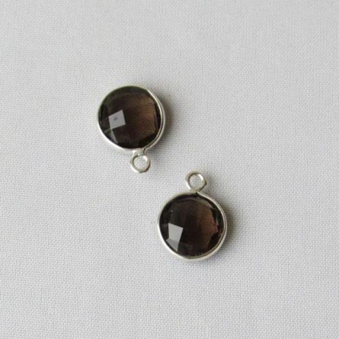 Sterling zilveren (925) ronde bedel, ROOKKWARTS, gefacetteerd, 10 mm, per stuk