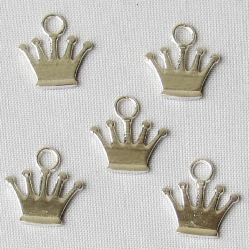 Zilveren bedel, kroontje, 13 x 13 mm, per stuk