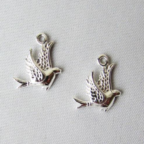 Zilveren bedel, vogel, 13 x 11 mm, per 5 stuks