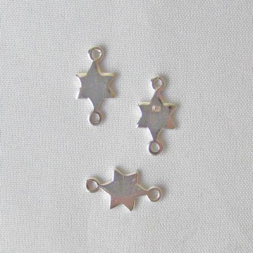Zilveren bedel, ster, tussenstuk, 14 x 7 mm, per 5 stuks