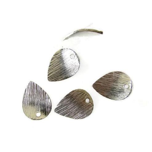 Sterling zilveren (925) bedel, blad, bewerkt, 14 x 10 mm, per stuk