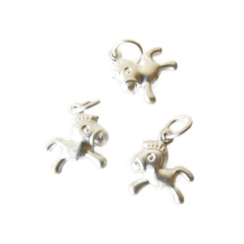 Sterling zilveren (925) bedel, paardje, mat, 11.5 x 12.5 x 3 mm, per stuk