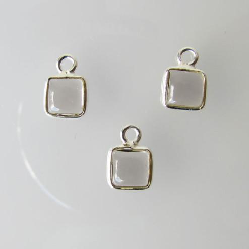 Sterling zilveren (925) bedel, vierkant, 6 -6.5 mm, ROOKKWARTS, per stuk