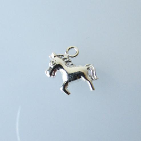 Sterling zilveren (925) bedel, paardje, 13 x 12 mm, per stuk