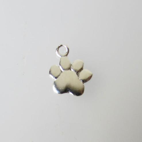 Sterling zilveren (925) bedel, hondepoot, per 5 stuks