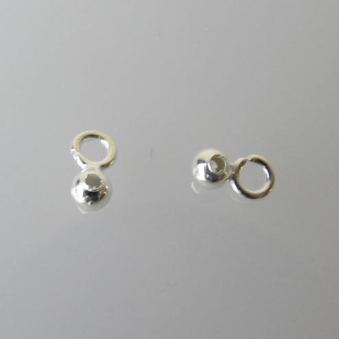Sterling zilveren (925) bedel, kraal met open oogje, 6.3 x 3.6 mm, per 10 stuks